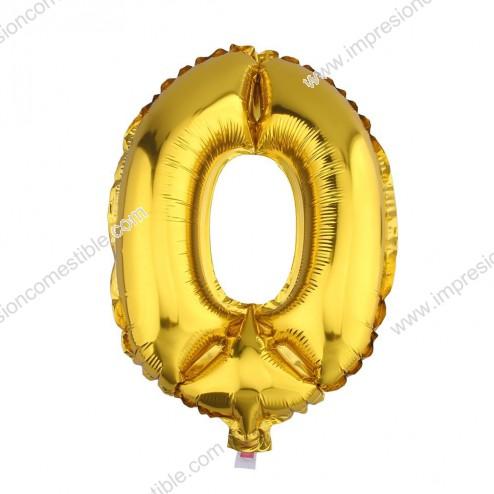 Globo Numero 0 CERO dorado oro gigante