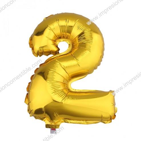 Globo Numero 2 DOS dorado oro gigante