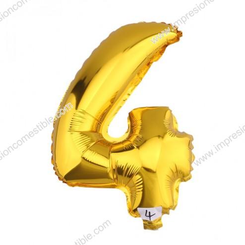Globo Numero 4 CUATRO dorado oro gigante