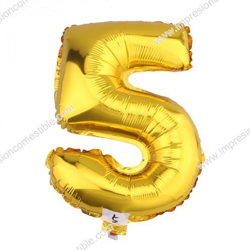 Globo Numero 5 CINCO dorado oro gigante