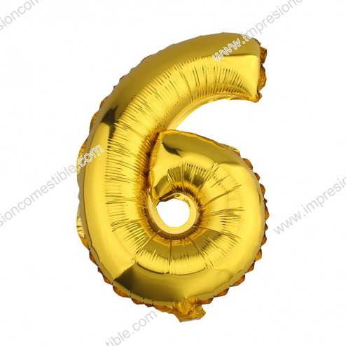 Globo Numero 6 SEIS dorado oro gigante
