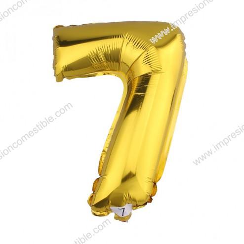 Globo Numero 7 SIETE dorado oro gigante