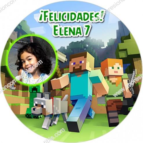 Oblea Minecraft con Foto - Redondo