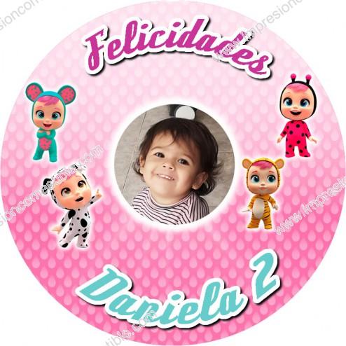 Oblea Bebes Llorones con Foto - Redondo