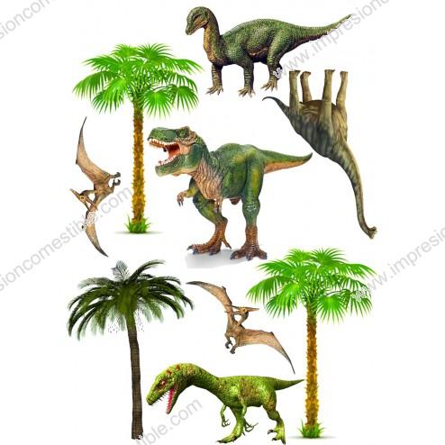 Oblea de Dinosaurios para Pastel