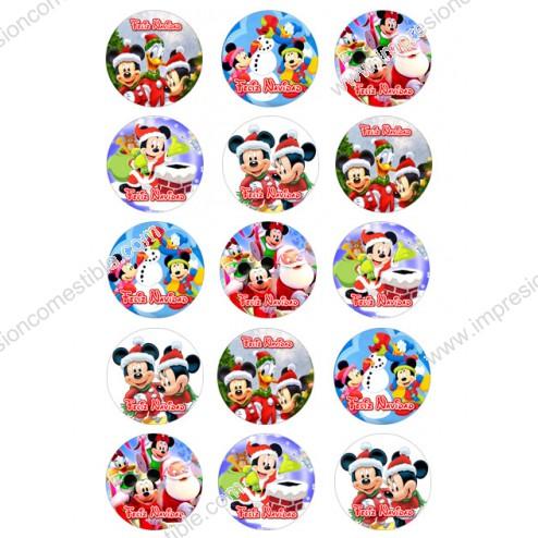 Oblea Galletas Mickey Navidad