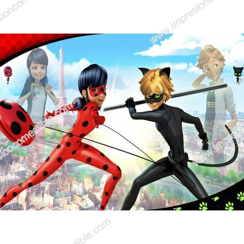 Oblea de LadyBug y Cat Noir Dina4