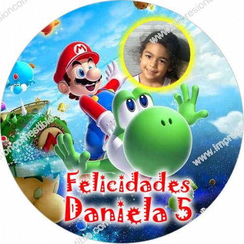 Oblea Super Mario Bros Montaje con Foto - Redondo
