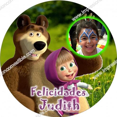 Oblea Masha y el oso con Foto - Redondo