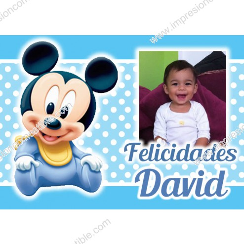Oblea Mickey Bebe Montaje con Foto Rectangular