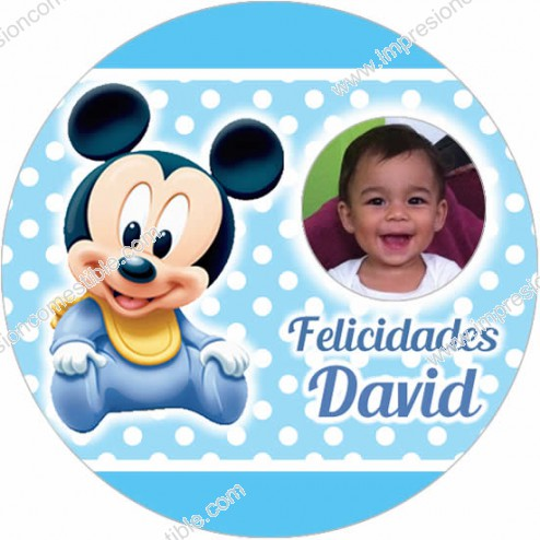Oblea Mickey Bebe Montaje con Foto Redondo