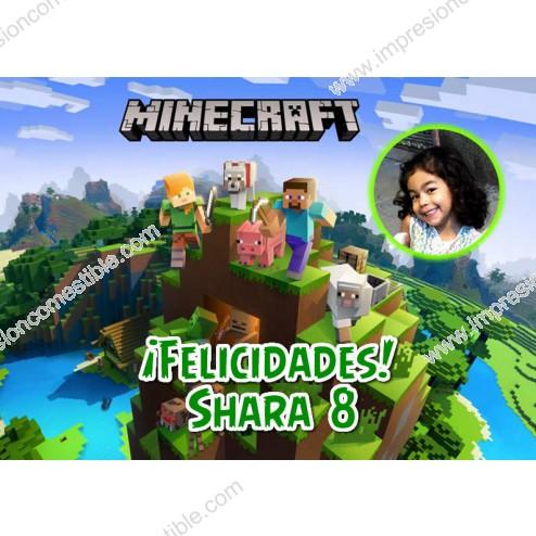 Oblea Minecraft Montaje con Foto - Dina4