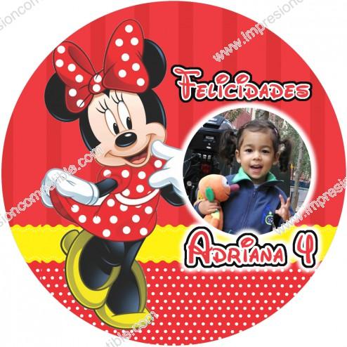 Oblea Minnie Montaje con Foto - Redondo