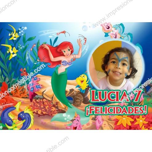 Oblea La Sirenita Ariel Montaje con Foto - Dina4