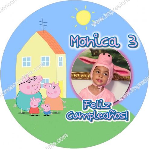 Oblea Peppa Pig Montaje con Foto - Redondo