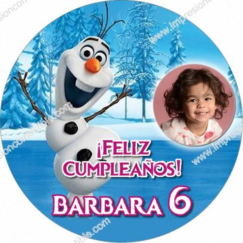 Oblea Olaf Frozen con Foto - Redondo