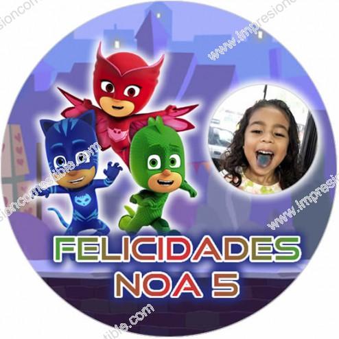 Oblea PJ Masks Montaje con Foto - Redondo