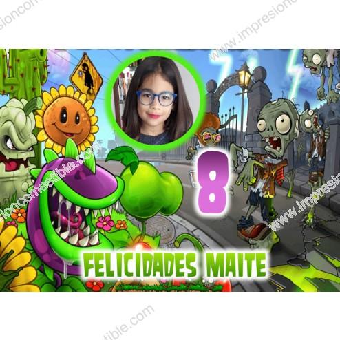 Oblea Plantas y Zombies Montaje con Foto - Dina4