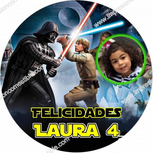 Oblea Star Wars Montaje con Foto - Redondo
