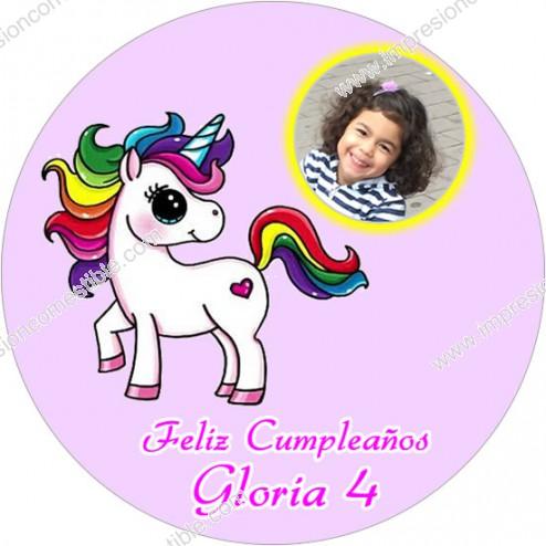 Oblea Unicornio con Foto - Redondo