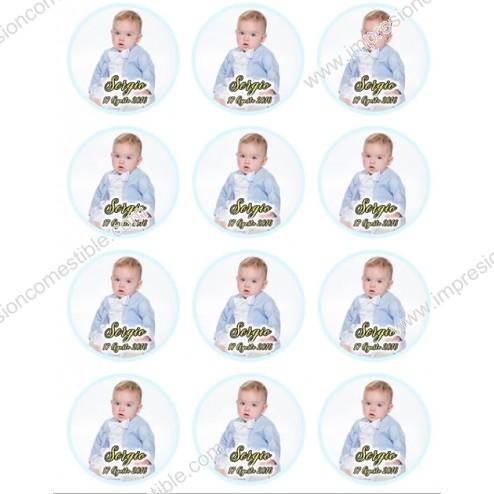 Oblea Galletas De Bautizo de Niño con Foto