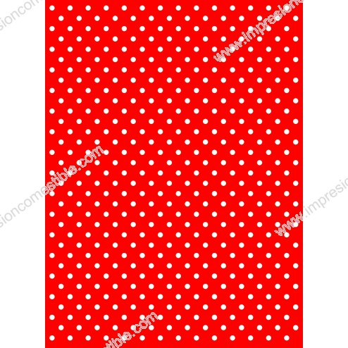 Estampado Rojo con Topos Blancos