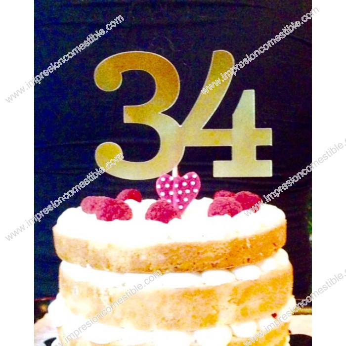 topper numero de cumpleaos para tartas