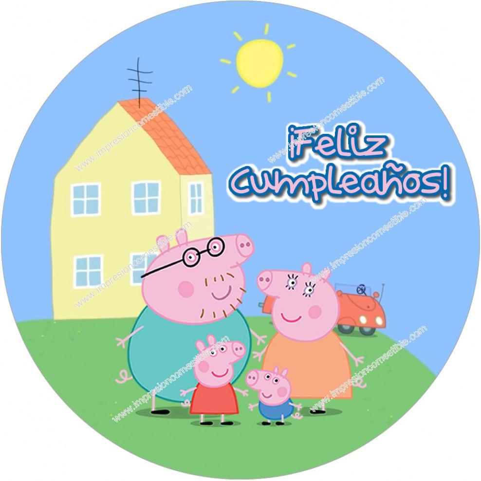 Oblea Tarta Peppa Pig Familia Envio 24h