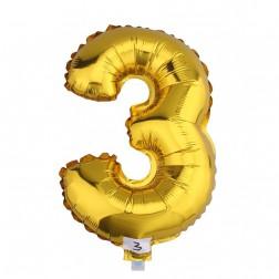 Globo Numero 3 TRES dorado oro gigante