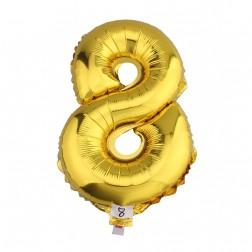 Globo Numero 8 OCHO dorado oro gigante
