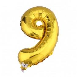 Globo Numero 9 NUEVE dorado oro gigante