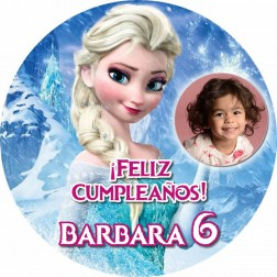 Oblea Elsa Frozen Montaje con Foto - Redondo