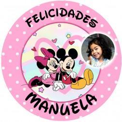 Oblea Mickey y Minnie con Foto - Redondo