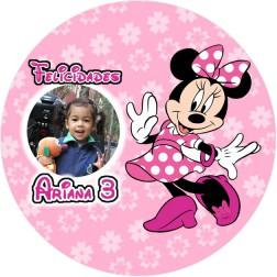 Oblea Minnie Rosa Montaje con Foto - Redondo