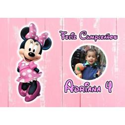 Oblea Minnie Rosa Montaje con Foto - Dina4