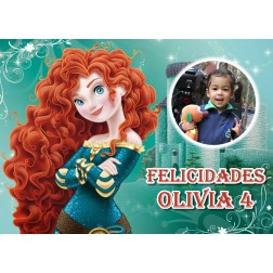 Oblea Princesa Merida Brave Montaje con Foto - A4
