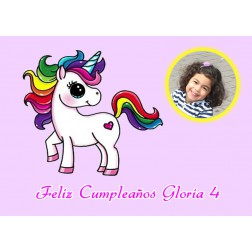 Oblea Unicornio Montaje con Foto - Dina4