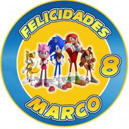 Oblea Sonic y sus Amigos Personalizada